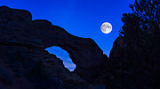 Jeff Burton Posters - Moonrise Over North Window Arch Poster by Jeff Burton