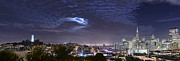 Moonrise Prints - Moonrise Over San Francisco November Panorama View Print by David Yu