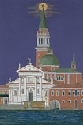 Moonrise Over Venice Print by David Hinchen