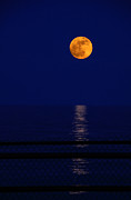 Sea Moon Full Moon Photo Metal Prints - Moonrise over Water Metal Print by Charline Xia