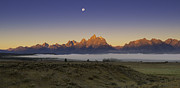 Moon Set Prints - Moonset at Dawn Grand Teton National Park Print by Joseph Rossbach