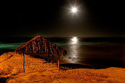 Moon Beach Framed Prints - Moonset over WindNsea Framed Print by Peter Tellone