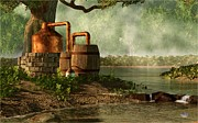 Moonshine Digital Art Framed Prints - Moonshine Still 3 Framed Print by Daniel Eskridge