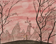 Cherry Blossoms Pastels Prints - Moonwalk Print by Sean Mitchell