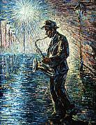 New Orleans Oil Paintings - Moonwalk solo by Natasha  Mylius