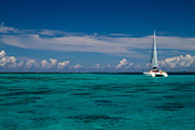 Sail Boat Prints - Moorea Lagoon No 16 Print by David Smith