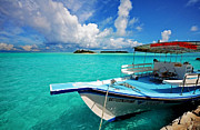 Maldivian Prints - Moored Dhoni at Sun Island. Maldives Print by Jenny Rainbow