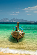 Thai Prints - Moored Longboat Print by Adrian Evans