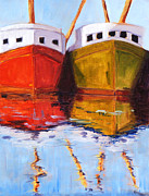 Scow Paintings - Moored by Nancy Merkle
