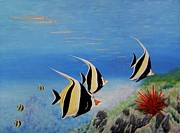 Exotic Fish Paintings - Moorish Idols by Mary Deal