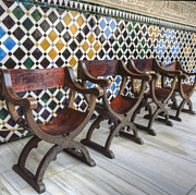Ceramic Tile Prints - Moorish Tile Work at the Alhambra Print by Heiko Koehrer-Wagner