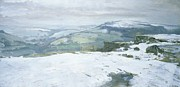 Winter Landscape Paintings - Moorland by Charles Hardaker