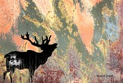Deer Silhouette Digital Art - Moose Abstract by Sharon K Shubert