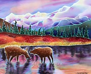 Autumn Landscape Painting Framed Prints - Moose at Rainbow Lake Framed Print by Harriet Peck Taylor