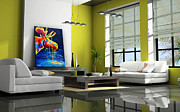 Moose Paintings - Moose Drool Contemporary Living Room Showcase by Teshia Art