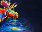 Blue  Yellow Paintings - Moose Drool by Teshia Art