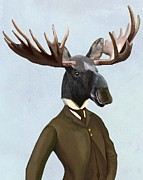 Moose Digital Art Metal Prints - Moose in a smart suit Metal Print by Loopylolly