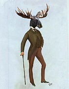 Moose Digital Art Prints - Moose in a suit full picture Print by Loopylolly