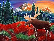 Moose Art Framed Prints - Moose in the Meadow Framed Print by Harriet Peck Taylor