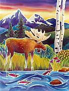 Folk Art Posters - Moose on Trout Creek Poster by Harriet Peck Taylor