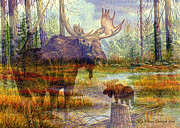 Moose Art Framed Prints - MOOSE- Prince of the Forest and Passing Through Multi Exposure Framed Print by Ellen Strope