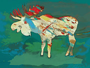 Wild Horse Mixed Media Prints - Moose - Wild Animal Stylised Pop Art Drawing Portrait Poster Print by Kim Wang
