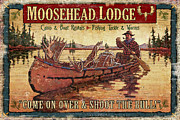 Tin Framed Prints - Moosehead Lodge Framed Print by JQ Licensing
