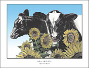 Cows Drawings Posters - Moove It On Over Poster by Jonathan Brown