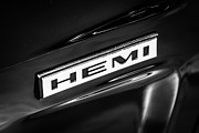 Hemi Framed Prints - Mopar Hemi Emblem Black and White Picture Framed Print by Paul Velgos