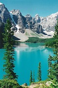 Light Gray Turquoise Posters - Moraine Lake 4 Poster by Shirley Sirois
