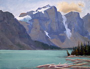 Snowy Trees Paintings - Moraine Lake Banff by Mohamed Hirji