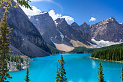 Mountain Reflection Lake Summit Mirror Prints - Moraine Lake - Banff National Park Print by Matt Dobson