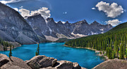 Mountain Reflection Lake Summit Mirror Prints - Moraine Lake HDR Panorama Print by Matt Dobson