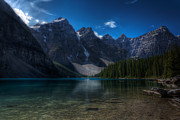 Mountain Reflection Lake Summit Mirror Prints - Moraine Lake Print by Matt Dobson