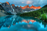 Deep Reflection Posters - Moraine Lake Sunrise Poster by James Wheeler
