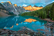 Deep Reflection Posters - Moraine Lake Yellow Mountains Poster by James Wheeler