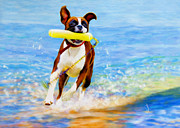 Dog Play Beach Posters - More Bounce For The Ounce Poster by Denise Laurent