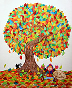 Child Drawings Prints - More Fall Fun Print by Nick Gustafson