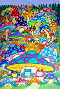 Colorful Animals Drawings Framed Prints - More Frogs Toads and Magic Mushrooms Framed Print by Nick Gustafson