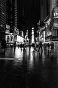 Winter Night Framed Prints - More TImes Square mono Framed Print by John Farnan