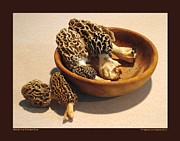 Wooden Bowls Prints - Morels in a Wooden Bowl Print by Patricia Overmoyer