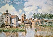 Village Paintings - Moret sur Loing the Porte de Bourgogne by Alfred Sisley