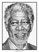 Morgan Drawings Posters - Morgan Freeman in 2007 Poster by J McCombie