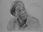 Morgan Drawings Posters - Morgan Freeman Sketch Poster by Paul Mc Donald