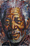 Guitarists Painting Originals - Morgan Freeman by Tachi Pintor