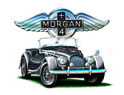 David Kyte Metal Prints - Morgan Plus 4 BlkGray Metal Print by David Kyte