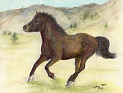 Quarterhorse Posters - Morgan Quarterhorse Horse Farm Ranch Animal Art Cathy Peek Poster by Cathy Peek