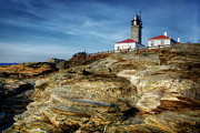 Ri Lighthouse Prints - Morning at Beavertail LIghthouse Print by Joan Carroll