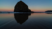 Cannon Beach Framed Prints - Morning at Haystack Framed Print by Mike Reid
