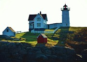 Nubble Light House Prints - Morning At Nubble Lighthouse Print by Joy Bradley                   DiNardo Designs